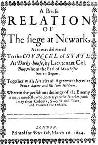 Pamphlet on the siege of Newark, published in March 1644.