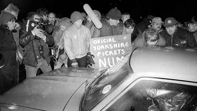 NUM picket at Bilsthorpe Colliery on the first night of the strike.