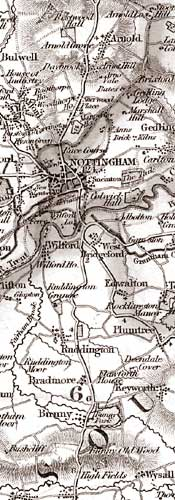 Extract of Walkers' map of Nottinghamshire, 1836