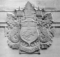 Coat of Arms on Lloyds building on Lime Street, London from 1954 (photograph courtesy of James Woodford).