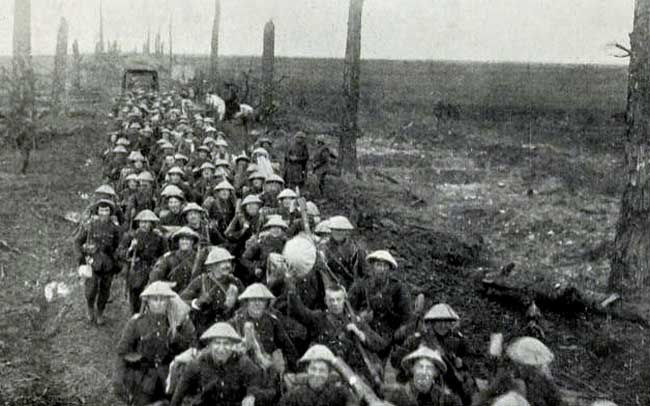 2/8th Batallion, The Sherwood Rangers Regiment, marching the front line in France.