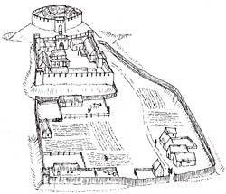 Conjectural reconstruction drawing of Laxton Castle, c.1200.