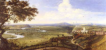 Impressive panorama of Nottingham and the River Trent by Jan Siebrechts, 1700.
