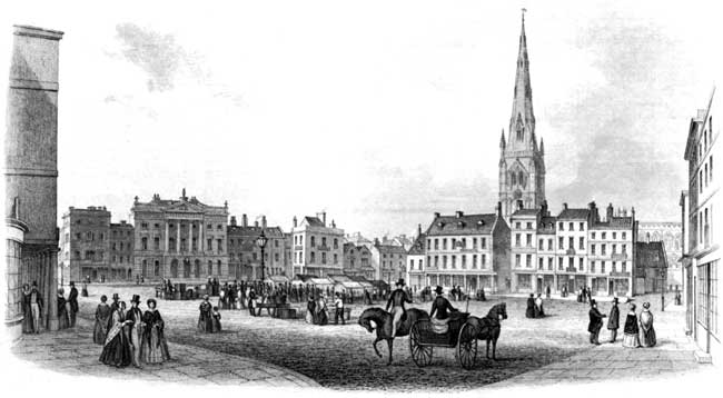 A view of the Market Place in Newark, c.1850.
