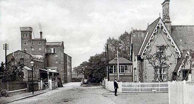 Caudwell's Mill and Southwell railway station, c.1905.