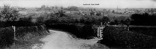 A view of Southwell from the south, c.1905.
