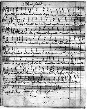 A folk song from the daybook of John Reddish, East Bridgford, 1780-1805. Courtesy of Anne Cockburn.