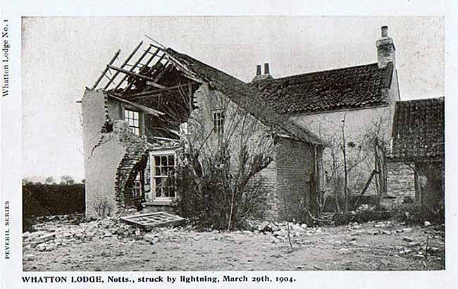 Postcard showing the damage caused by a lightning strike to a house in Whatton in 1904.